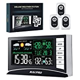 RISEPRO Weather Station, Wireless Weather Station with 3 Sensors in/Out Temperature and Humidity Alarm Clock Calendar Weather Forecaster with Color Led Display RP-WS2003N