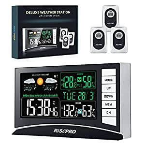 Weather Station, RISEPRO Wireless Weather Station with 3 Sensors in/Out Temperature and Humidity Alarm Clock Calendar Weather Forecaster with Color Led Display RP-WS2003N