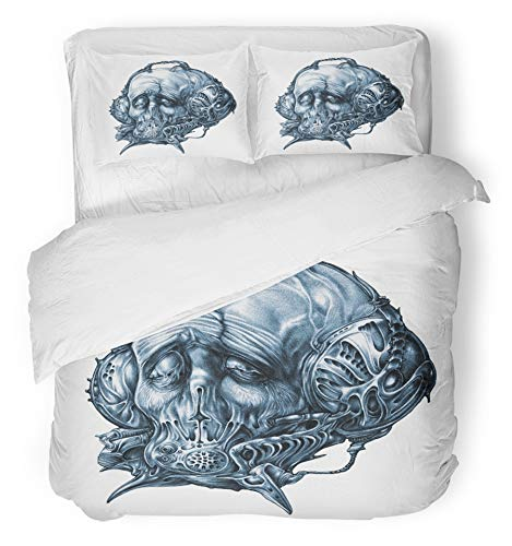 (Emvency 3 Piece Duvet Cover Set Brushed Microfiber Fabric Breathable Fantastic Character in Helmet Gas Mask Cyberpunk Steampunk Space Pilot Sci Fi Bedding Set with 2 Pillow Covers Full/Queen)