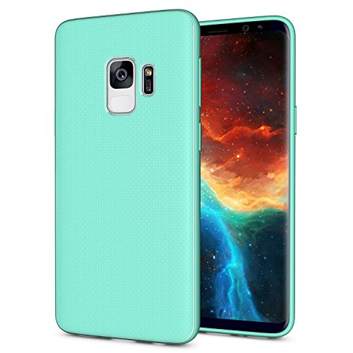 Galaxy S9 Case, OEAGO [Ultra-Thin] [Anti Slip] [Light Weight] Flexible TPU Bumper Soft Rubber Slim Silicone Skin Cover with Easy Grip Design for Samsung Galaxy S9 S 9 (2018) - Mint Teal
