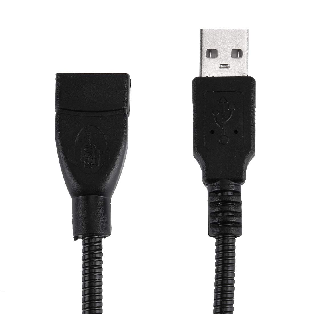 Black Computer Cables 20cm USB 2.0 Female to USB 2.0 Male Metal Soft Hose Adapter Cable Color : Black