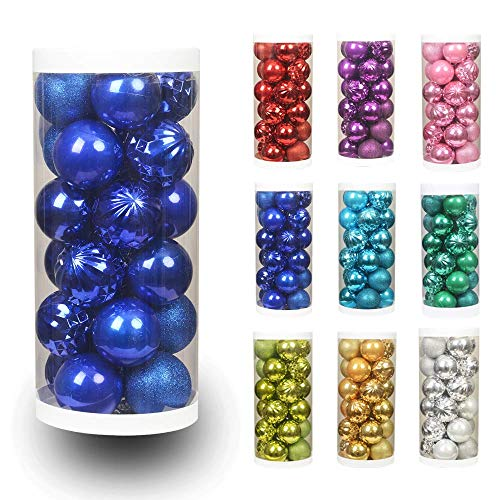 ChristmasExp 24ct 60mm/2.36 Christmas Ball Shatterproof Christmas Tree Balls Ornament Set Decorations for Holiday Xmas Party Decoration Tree Ornaments (2.36, Diamond Blue)