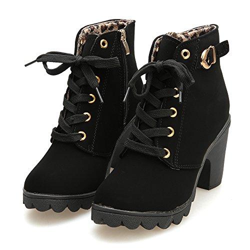 tacco Boots Nero di alto donne Up modo Longra delle Lace qSwxEXt