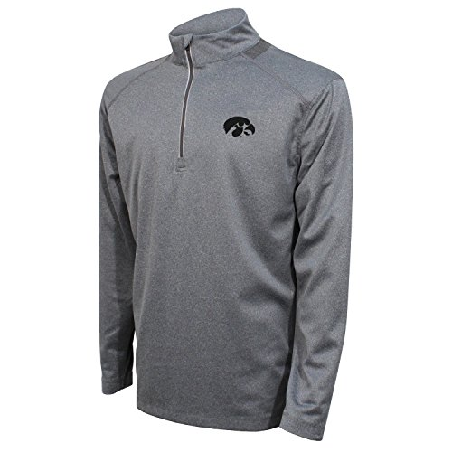 Crable Adult NCAA Men's Quarter Zip with Neck Panel, Heather Gray/Black, X-Large