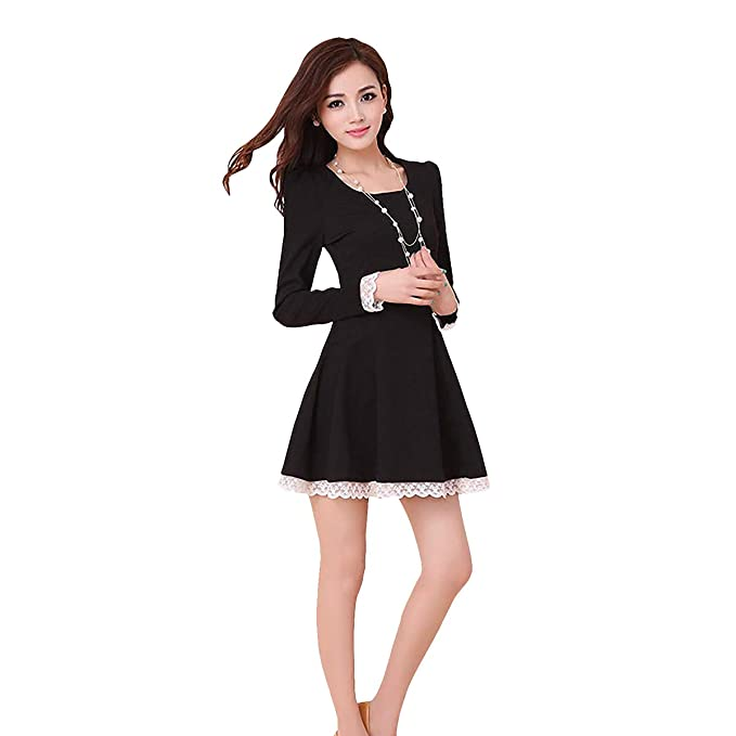 5d48a78988 Vimmi Style Women s Long Sleeve Dress (Black