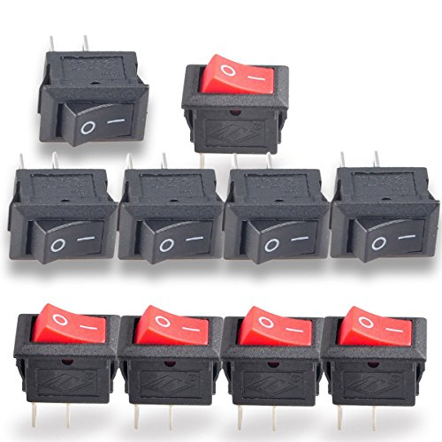 Conwork 20pcs SPST Type 2 Pin 2 Position ON/OFF Boat Rocker Switch 6A/125V 3A/250V AC for Truck Boat - Type Decora Plate