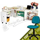Arrow K8611 Aussie II Kangaroo Sewing, Cutting, Quilting, Crafting Cabinet with Storage, Portable with Wheels and Airlift, Large, White Ash Finish