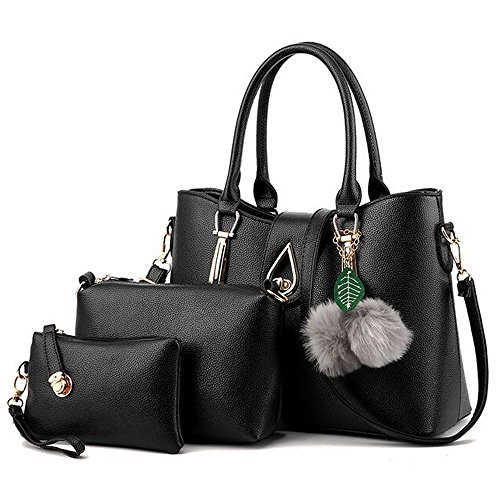 Womens 3 Piece Tote Bag Leather Handbag Purse Bags Set (Black) - 4
