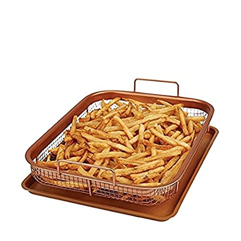 Multi-Purpose Crisper Basket & Tray for Oven, Stovetop, Grill, Works as Air Fryer and Griddle, Excellent for Frozen Foods, Copper Colored 14x9x2.5