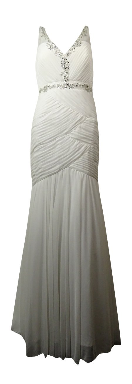 Adrianna Papell Women's Embellished Pleated Mermaid Gown (8, Ivory)