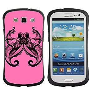 Hybrid Anti-Shock Bumper Case for Samsung Galaxy S3 / Cool Octopus Tattoo