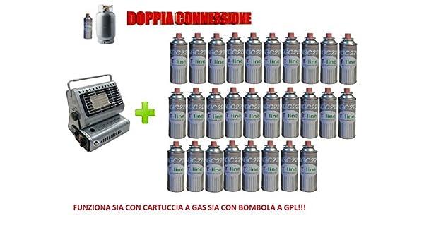 Estufa estufa a gas portátil doble conexión Sia Cartuchos de Gas Sia bombole + 28 cartucho): Amazon.es: Jardín
