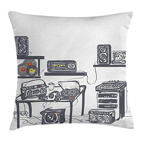 JUNV Modern Throw Pillow Cushion Cover, Recording Studio with Music Devices Turntable Records Speakers Digital Illustration, Decorative Square Accent Pillow Case, 18 X 18 Inches, Cadet Blue