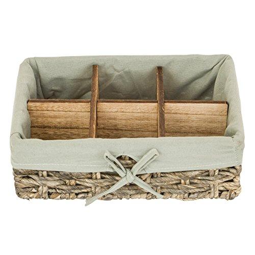 Woven Mini Labels - Elimy Rectangular Woven Basket Seagrass Decorative Storage Baskets, Lightweight Box Organizer, Handmade fabric bins, Desktop Box (Grey, 6 Grid, Large)