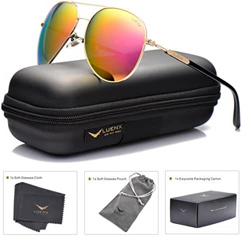 LUENX Aviator Sunglasses Womens Polarized Mirror with Case - UV 400 Protection