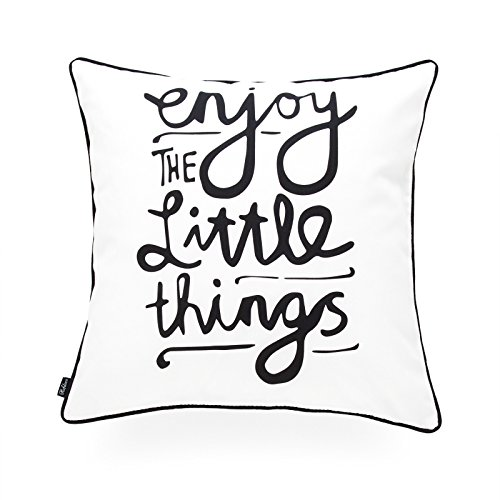 Hofdeco Decorative Throw Pillow Cover INDOOR OUTDOOR WATER RESISTANT Canvas Spirit Quotes Enjoy Little Things Word 18