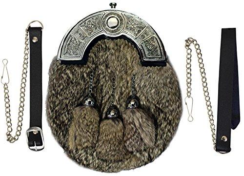 Full Dress Kilt Sporran Grey Rabbit Fur Celtic Cantle/Scottish Kilt Sporrans