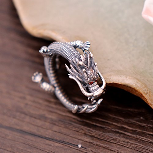 Vintage Unique 925 Sterling Silver Chinese Dragon Open Pinky Ring with Cubic Zironia for Men Women by For Fox (Image #1)