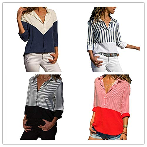 Long Chic Automne Femme Manche Elgante Blouse Chemise Branch Loisir Longue Shirt Haut Revers Manches Printemps Confortable Blau Mode Dame BOLAWOO Large z7fq7