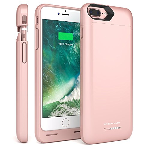 iPhone 7 Plus Battery Case, (APPLE CERTIFIED), Press Play NERO iPhone Portable Charger Slim Charging Case 4600mAh Extended Battery Pack Power Cases Juice Cover (Rose Gold)