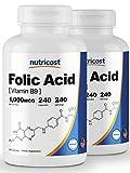 Nutricost Folic Acid (Vitamin B9) 1000 mcg, 240 Capsules (2 Bottles)