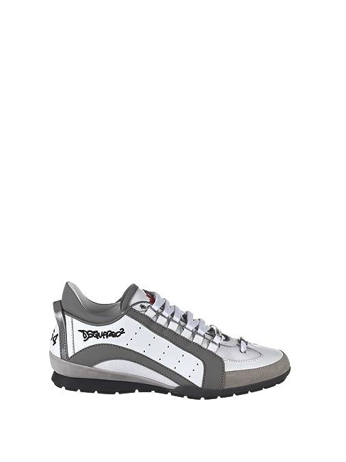 DSquared Zapatillas de Otra Piel Para Hombre Blanco y Gris, Color, Talla 44: Amazon.es: Zapatos y complementos