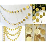 Fecedy Hanging Circle Dots Paper Glitter Champagne Gold