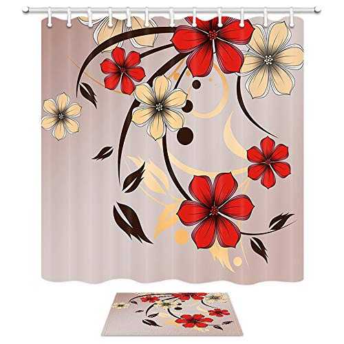 (Flowers Shower Curtain, Floral Petals with Striped Leaves Lines on Vintage Wallpaper Modern Geometrichome, 69X70 in Fabric Bath Curtains with15.7X23.6in Flannel Non-Slip Bath Rugs Bathroom Accessories)