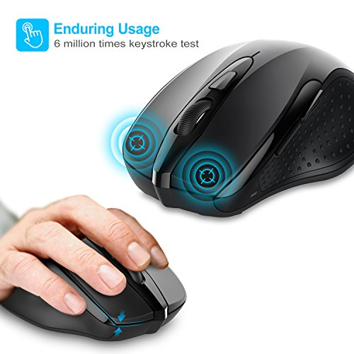 TeckNet Pro 2.4G Ergonomic Wireless Mobile Optical Mouse with USB Nano Receiver for Laptop,PC,Computer,Chromebook,Macbook,Notebook,6 Buttons,24 Months Battery Life,5 DPI Adjustment Levels by TECKNET (Image #2)