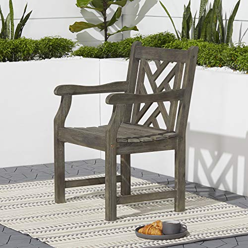 Vifah V1301 Renaissance Hand-Scraped Acacia Patterned Back Outdoor Armchair