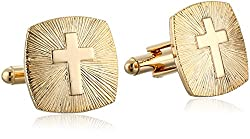 Status Men's Cuff Links - Square Rounded Edges Cross, Gold, One Size