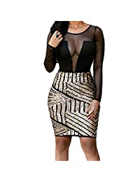 Eiffel Women's Long Sleeves Sheer Mesh Sparkling Sequin Bodice Dress Bodycon