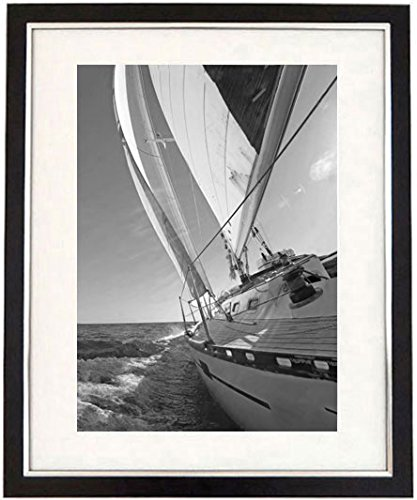 Full steam ahead framed black white print of an ocean racing yacht