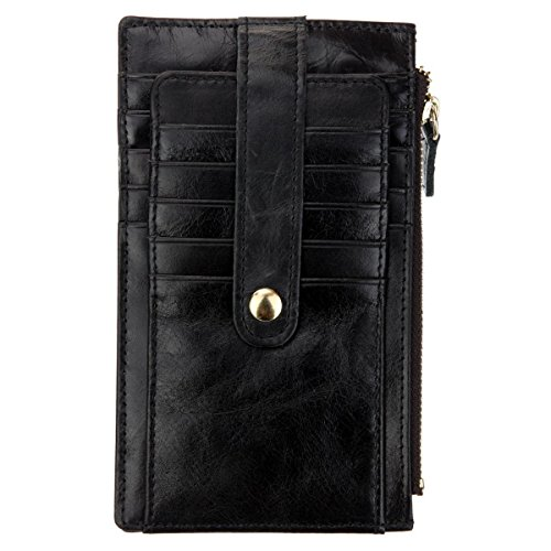 DEEZOMO Top Grain Leather Multi-fonction Credit Card Organizer Wallet Bifold with Snap - Black