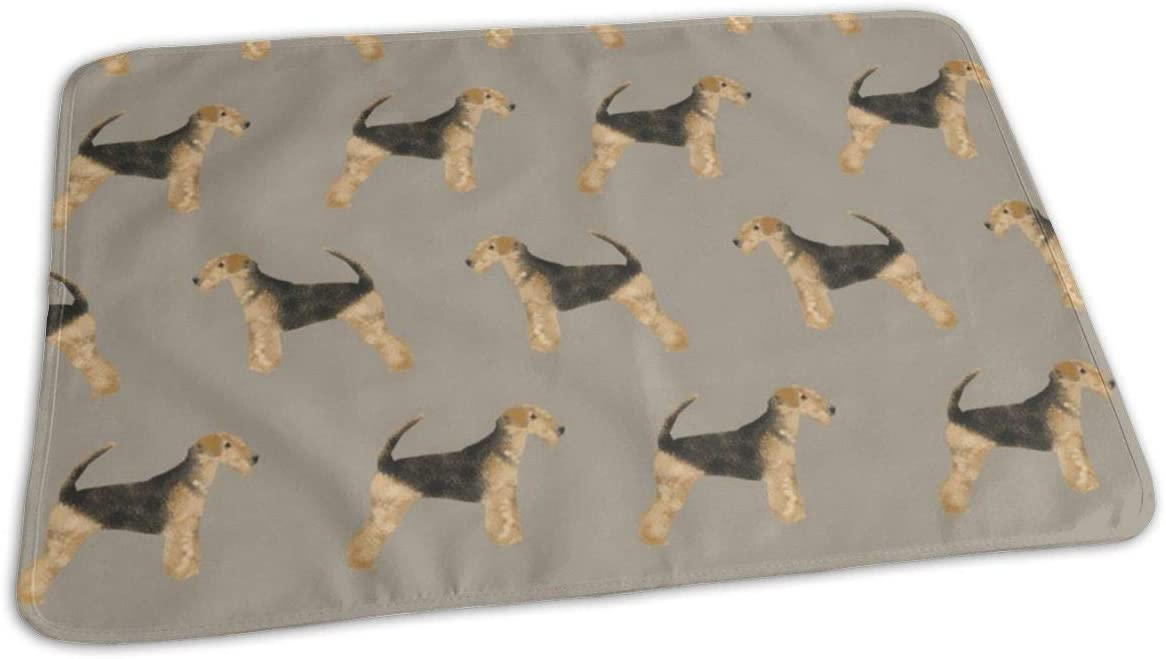 Medium Brown Airedale Terrier Dog Fabric Cute Dogs Neutral Sewing Dog Fabric Baby Portable Reusable Changing Pad Mat 25.5 x 31.5