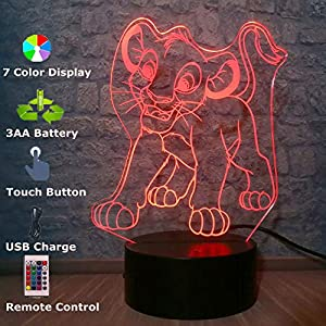 Cartoon Simba The Lion King 3D LED Kid Night Light Multicolor USB Charge Animals Table Optical Illusion Lamp Bedroom…