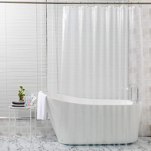 """AmazerBath Plastic Shower Curtain, 72"""" W x 72"""" H EVA 8G Shower Curtain with Heavy Duty Clear Stones and 12 Grommet Holes Thick Bathroom Plastic Shower Curtains Without Chemical Odor-Clear"""