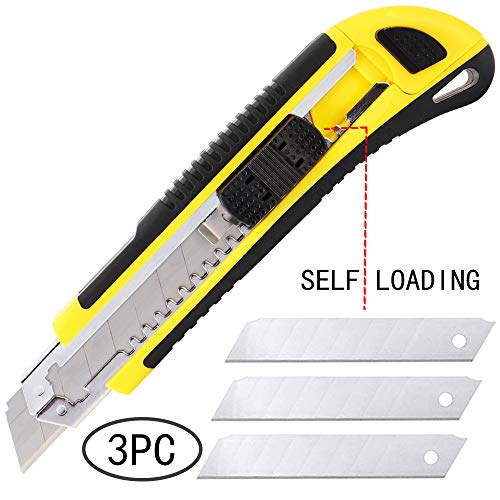 DOWELL Utility Knife Box Cutter Retractable Self Loading Heavy Duty Snap Off Quick Change Extra Blades(3PCS) TPR+PP Handle Cutting Cardboard Boxes or DIY