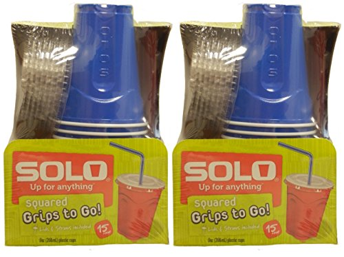 Solo 9 Oz Plastic Cup, Lid, & Straw Combo Pack, 30 Cups, Blue (2x 15cup Packs)
