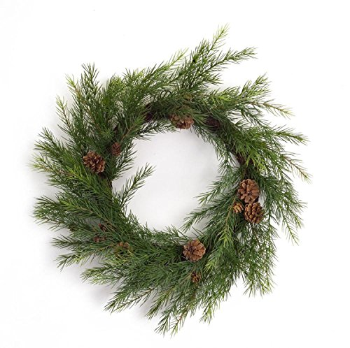 """Diva At Home Pack of 2 Long Needle with Pine Cone Artificial Christmas Decorative Pine Wreath 22"""""""