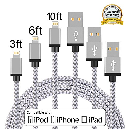 Price comparison product image iPhone Cable, MCUK 3 Pack 3ft 6ft 10ft Lightning Cable Charging Cord Nylon Braided Apple USB Cable for iPhone 7 7 Plus 6 6s plus, iPhone 5 5s 5c SE, iPod, iPad Mini, iPad ((3ft+6ft+10ft)White+Grey)