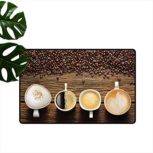 PEONIY&HOME Coffee,Kitchen Mat Assortment of Coffee Cups with Beans on Wooden Table Americano Cappuccino Mug Entrance Rugs W 24