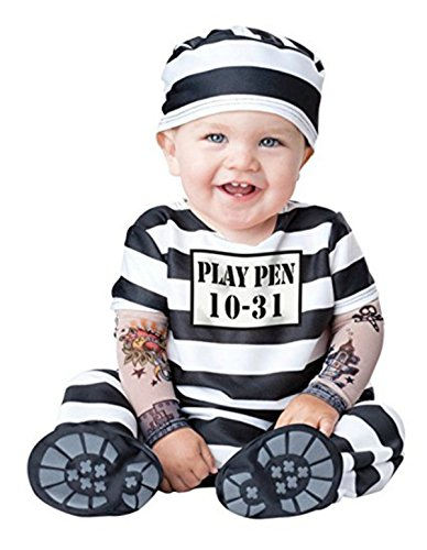 (Baby Prisoner Halloween Costume: Infant Jailbird Costume (0-6 Months) Black and)