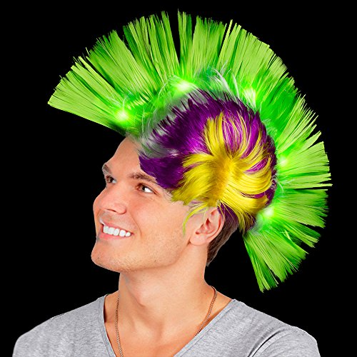 Fun Central AD154, Purple Green and Yellow, LED Light Up Mohawk Wig, Light Up Hat, Mohawk Hair, Mohawk Hairstyles, Light Up Mohawk, Mohawk Wig for Kids, Glow Hair-for Mardi Gras, Neon Party ()