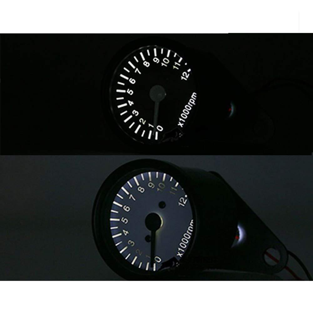 nero Moto Universale Mini LED Retroilluminazione Tachimetro Tachimetro Gauge Per Honda Kawasaki Yamaha Suzuki Cafe Racer Old School Bobber