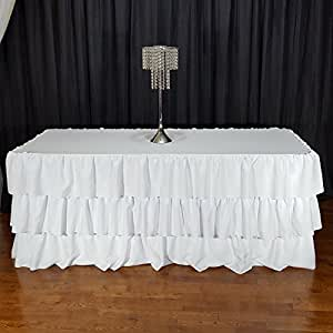 three layer ruffle tablecloth white for 6 foot tables home kitchen. Black Bedroom Furniture Sets. Home Design Ideas
