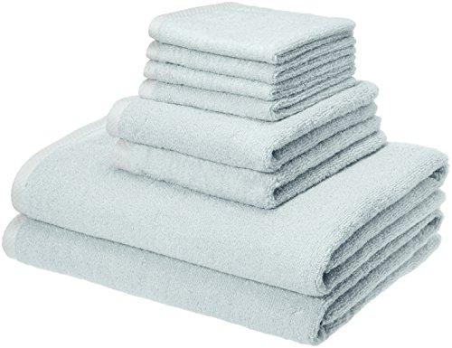 AmazonBasics Quick-Dry Towels - 100% Cotton, 8-Piece Set, Ice Blue