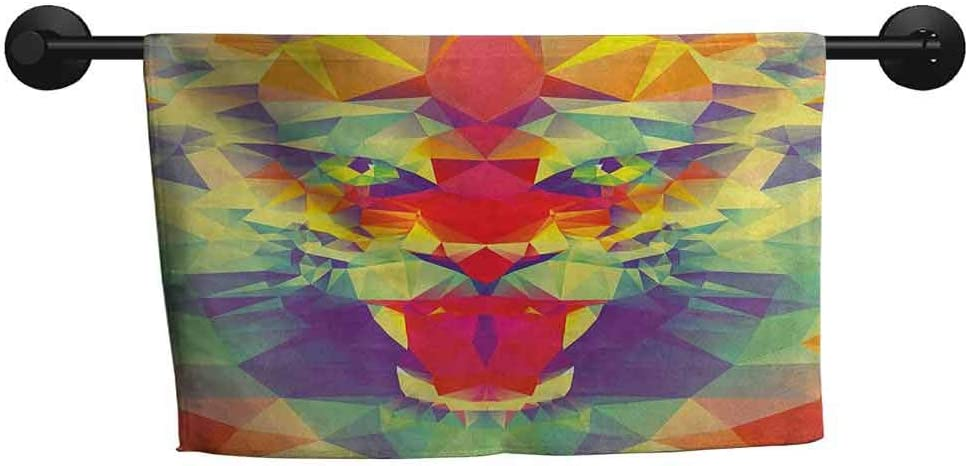 xixiBO Towel W 20 x L 20(inch) Anti-Fade Towel,Safari,Polygonal Lion Face with Geometric Shades and Effects Exotic King of Jungle Theme,Multicolor