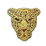 Toonol New Large Gold Sequins Leopard Head Patch DIY Clothes Patches for Clothing Sew-on Embroidered Tiger Motif Beaded Applique