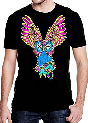 SFYNX 'PLUR Owl' Men's Rave T Shirt - Glow in the Dark EDM Clothing - Black Light Reactive Tee (XL) - Back Music Light T-shirt